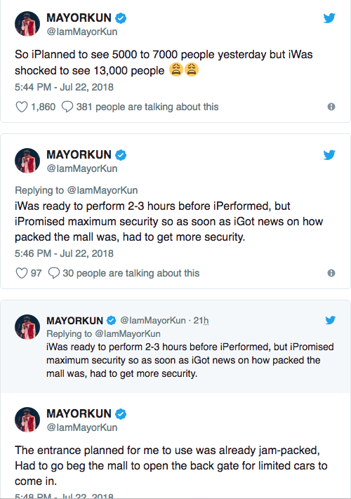 Mayorkun reacts to sexual and violence report in his Ibadan show