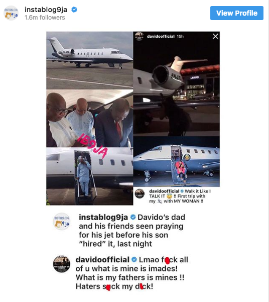 Davido lied about the ownership of his Private jet