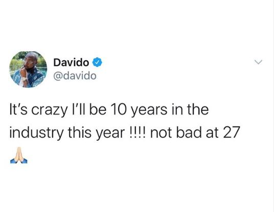 Davido celebrates 10 years in the music industry