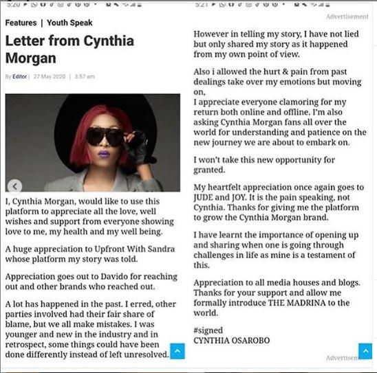 Cynhtia Morgan Apology Statement To Jude Okoye