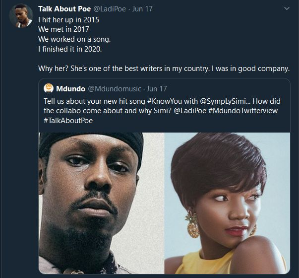 Ladipoe reveals how he made Know You with Simi