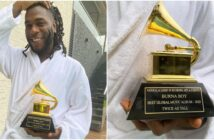 Burna Boy Drinks Champagne From His Grammy Awards Plaque In A Club
